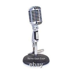 Shure 55S Unidyne Rare Vintage Microphone Dynamic Mic + Round Base Stand
