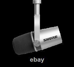 Shure MV7 XLR/USB Dynamic Podcast Microphone Silver