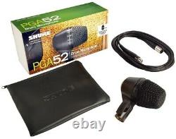 Shure PGA52 Kick Drum Cardioid Swivel-Mount Microphone with XLR-XLR Cable