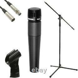 Shure SM57 Vocal Dynamic Live and Recording Microphone Bundle Pack stand, cable