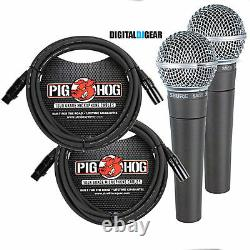 Shure SM58 SM-58 Dynamic Live Vocal Microphone PAIR with Pig Hog XLR Mic Cables