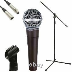 Shure SM58 Vocal Dynamic Live and Recording Microphone Bundle Pack stand, cable
