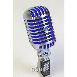 Shure Super 55 Deluxe Supercardioid Dynamic Vocal Mic, Chrome with Blue Foam