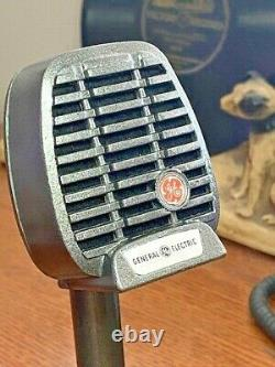 Vintage 1950's GE-SHURE CM Dynamic Microphone withdesk stand restored