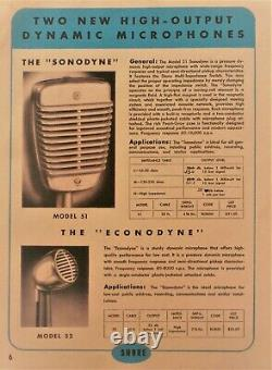 Vintage 1950's Shure 51 Dynamic microphone High Z & S-36 stand Nat King Cole