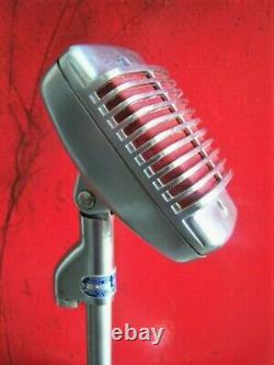 Vintage 1950's Shure 51 Dynamic microphone w period Turner stand Nat King Cole