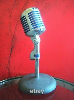 Vintage 1958 Shure Brothers 55S dynamic cardioid microphone w Atlas DS-5 stand