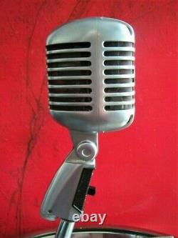 Vintage 1960's Shure 55 S dynamic cardioid microphone w period Atlas DS-14 stand