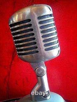 Vintage RARE 1960 Webster SS667 / Shure 55 S dynamic cardioid microphone w stand