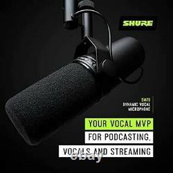 Shure Sm7b Cardioid Dynamic Vocal Microphone Lisse, Plat, Large Gamme De Fréquences