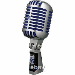 Shure Super 55 Deluxe Supercardioid Dynamic Vocal Mic, Chrome Avec La Mousse Bleue