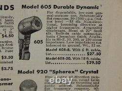 Vintage 1950s Electro Voice 605 Dynamic High Z Microphone Et Adaptateur Harp Shure