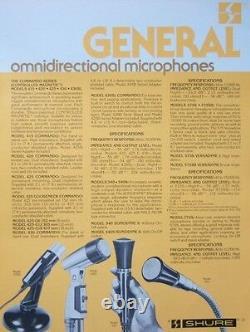 Vintage 1960 Shure 540 Microphone Dynamique Harpe Haut Z Vieux Turner Astatique
