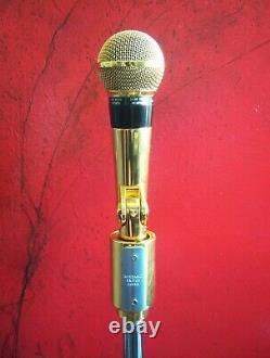 Vintage Rare 1970 Shure Pe566 Microphone Cardioide Dynamique Or W Accessoires