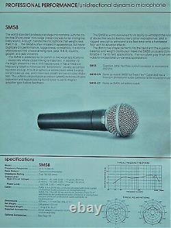 Vintage USA 1970 Shure Brothers Sm58 Cardioid Microphone Dynamique W Extras # 1